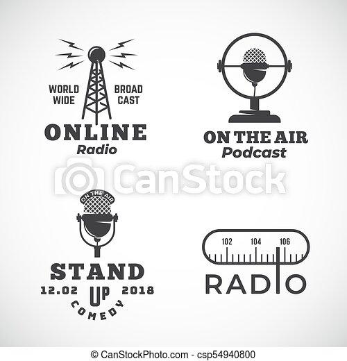wektor, albo, mikrofon, tabela, abstrakcyjny, wieża, do góry, powietrze, transmisja, emblematy, symbols., radio, online, znaki, logo, stać, komedia, set., podcast, templates. - csp54940800