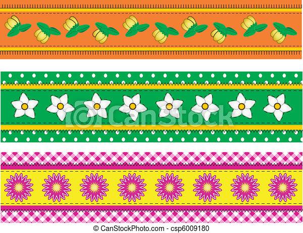 wektor, brzegi, trzy, eps10, kwiat - csp6009180