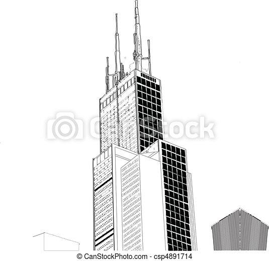 wektor, drapacz chmur, chicago - csp4891714