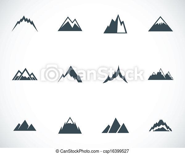 wektor, góry, komplet, czarnoskóry, ikony - csp16399527