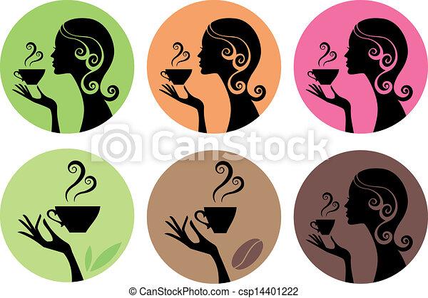 wektor, kawa, kobieta, herbata - csp14401222