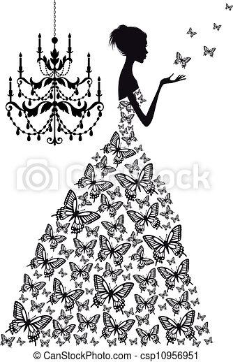 wektor, kobieta, motyle - csp10956951