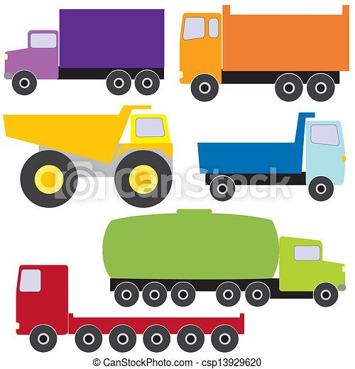 wektor, komplet, ciężarówki - csp13929620