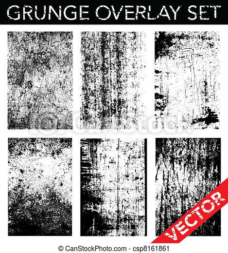 wektor, komplet, grunge, nakrycie - csp8161861