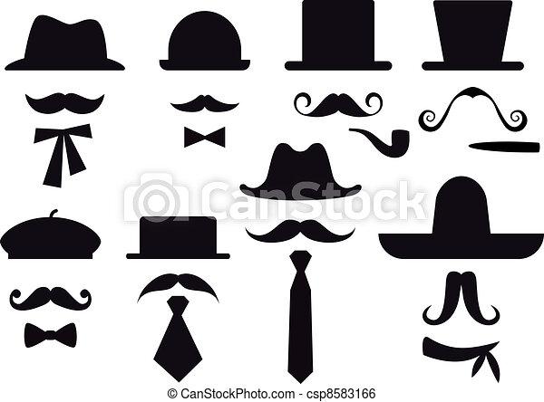 wektor, komplet, kapelusze, wąsy - csp8583166