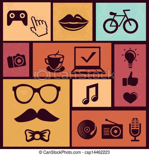 wektor, modny, komplet, hipster, ikony - csp14462223