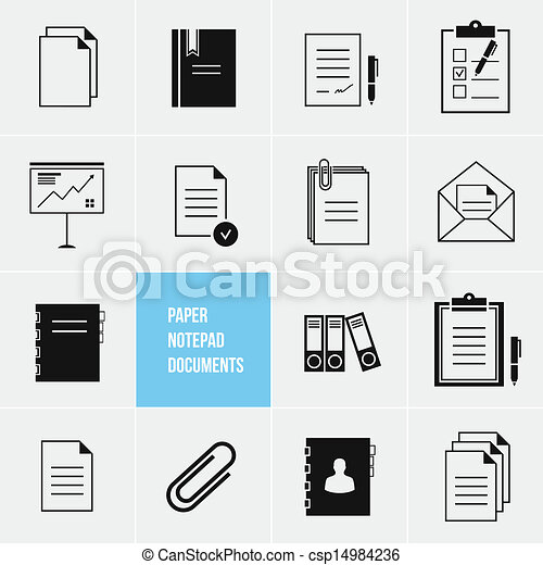 wektor, papier, notatnik, dokumenty, ikona - csp14984236