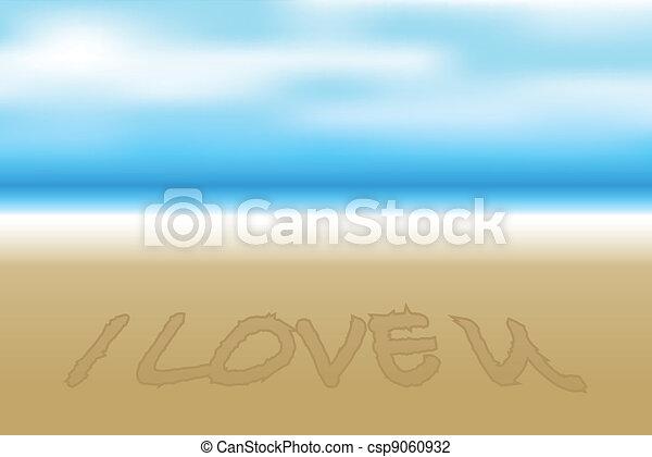 wektor, plaża, ilustracja - csp9060932