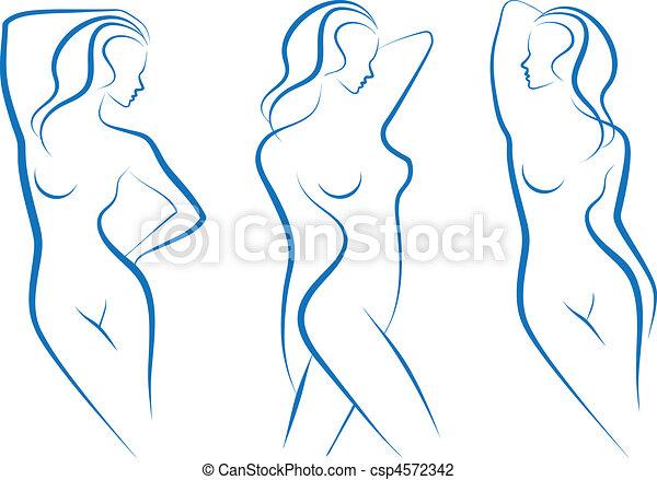 wektor, rys, kobieta - csp4572342