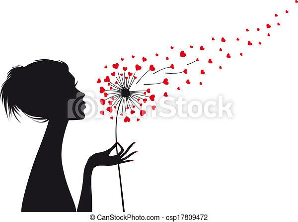 wektor, serce, kobieta, mniszek lekarski - csp17809472