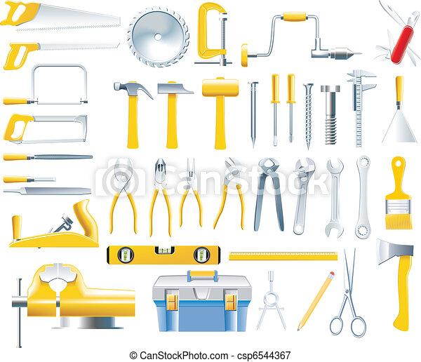 wektor, stolarz, komplet, narzędzia, ikona - csp6544367