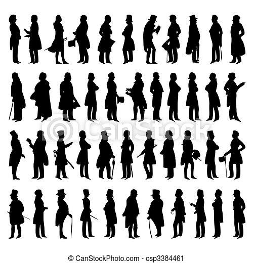wektor, sylwetka, mężczyźni, suits., ilustracja - csp3384461