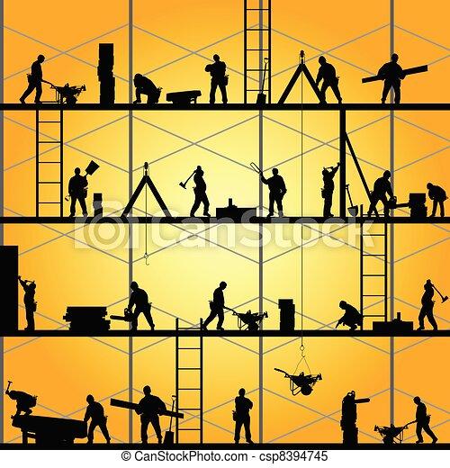 wektor, sylwetka, praca, pracownik, ilustracja, zbudowanie - csp8394745