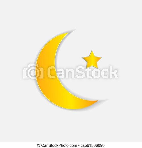 Wektor Sztuka Star Księżyc Papier Muslim Symbol Sztuka Illustration Gwiazda Muslim Odizolowany Księżyc Papier Canstock