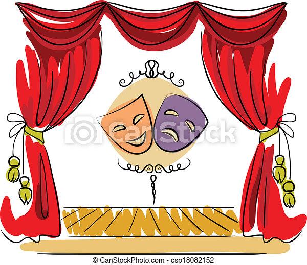 wektor, teatr, ilustracja, rusztowanie - csp18082152