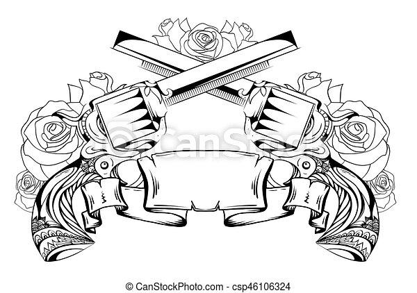 Wektor Twój Szkicowanie Dwa Kontur Róże Rewolwery Druk Projektować Tatuaże Scroll Duel Element Rysunek T Koszule