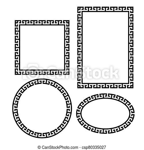 wektor, ułożyć, grek, set., okrągły, skwer, brzeg, klucz - csp80335027