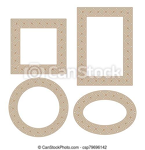 wektor, ułożyć, okrągły, klucz, grek, skwer, set., brzeg - csp79696142