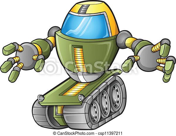 wektor, zbiornik, robot, zły - csp11397211