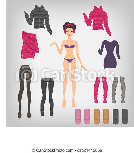 8ce1c786159074 Wektor, zima, lalka, do góry, papier, asortyment, strój, odzież.