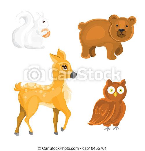 wektor, zwierzęta, las - csp10455761