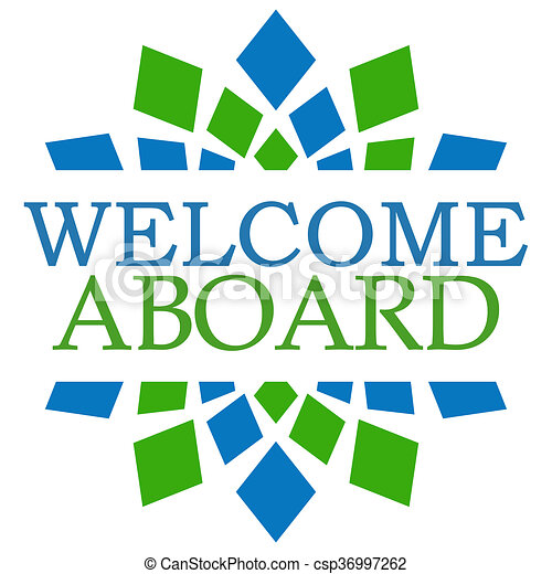 welcome aboard blue green square welcome aboard text over stock rh canstockphoto com