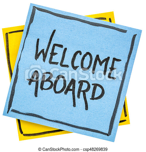 welcome aboard note welcome aboard handwriting on an stock rh canstockphoto com free clipart welcome aboard