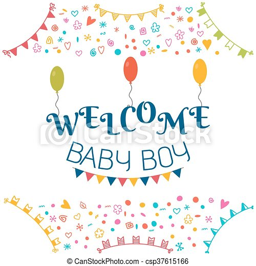 Welcome Baby Boy Baby Shower Greeting Card Cute Baby Boy Shower Card Baby Boy Arrival Postcard Vector Illustration