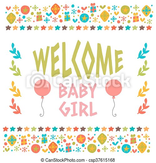 welcome baby girl shower card arrival card cute postcard with
