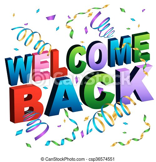 an image of a welcome back message clipart vector search rh canstockphoto com welcome back clip art free welcome back clipart