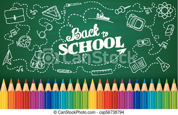 Vector Illustration Of Welcome Back To School Background With Doodle Elements On Chalkboard And Colorful Pencils