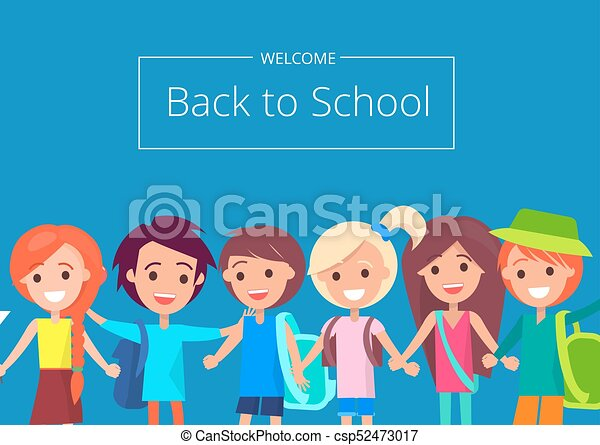 Welcome Back To School Banner With Kids Vector Welcome Back To School Banner With Kids Isolated Vector Illustration With