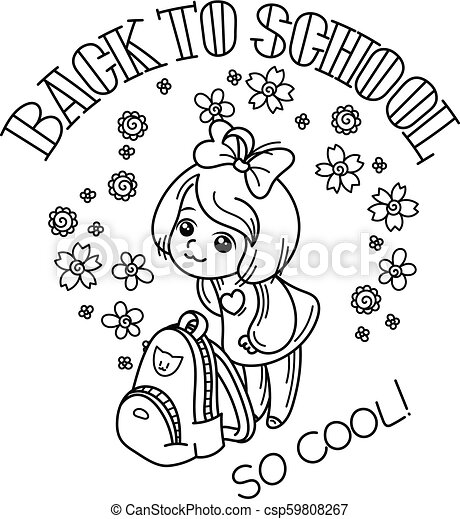 Welcome back to school. Cute school kid ready to education. - csp59808267