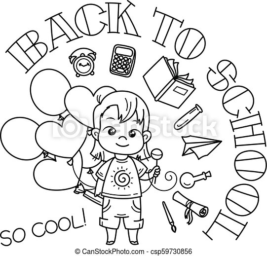 Welcome back to school. Cute school kid ready to education. - csp59730856