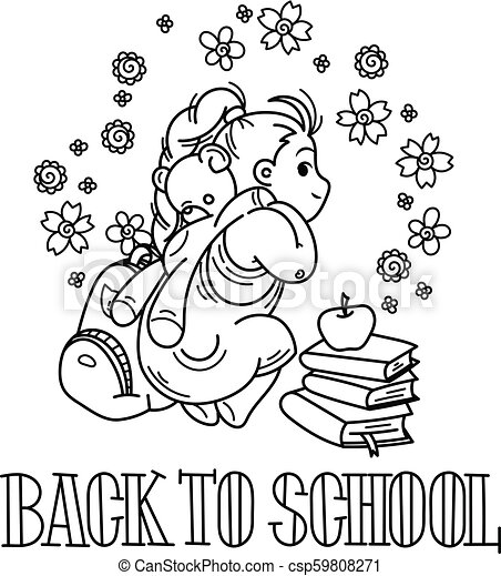 Welcome back to school. Cute school kid ready to education. - csp59808271