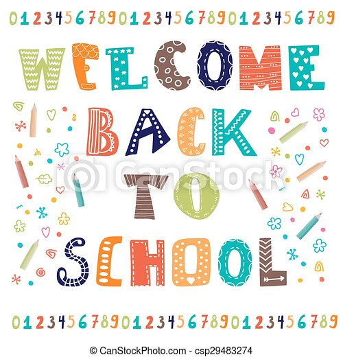 Welcome back to school greeting card back to school design welcome back to school greeting card back to school design template csp29483274 m4hsunfo