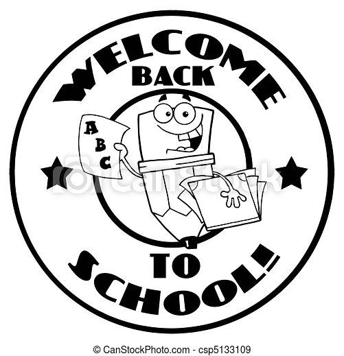 black and white welcome back to school happy pencil circle eps rh canstockphoto com welcome to our school clipart welcome back to school clipart free