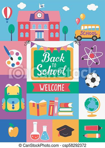 Peachy Welcome Back To School Welcome Back To School With Different Flat Funny Birthday Cards Online Fluifree Goldxyz