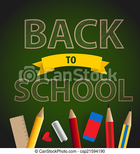 Welcome back to school, vector illustration. - csp21594190