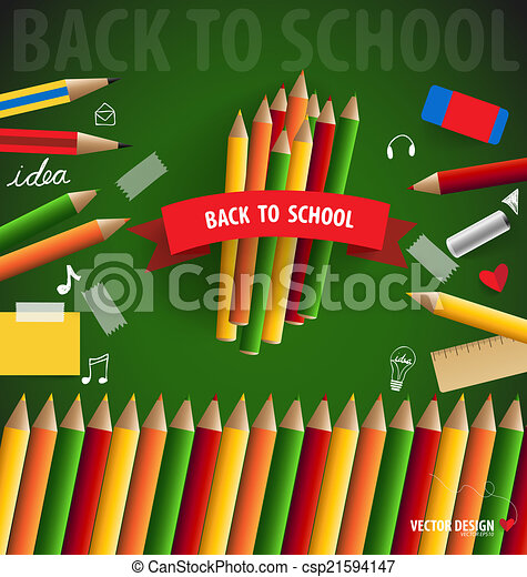 Welcome back to school, vector illustration. - csp21594147