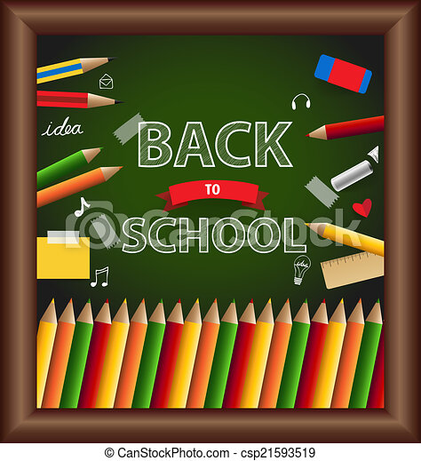 Welcome back to school, vector illustration. - csp21593519