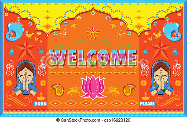 Welcome Background in Indian Truck paint style - csp16923120