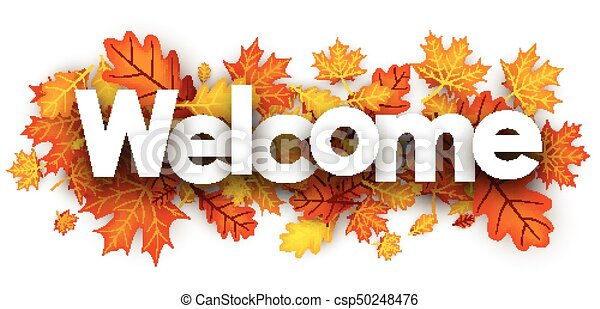 welcome banner with golden leaves welcome autumn banner with golden