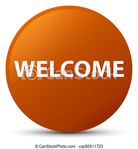 Welcome brown round button - csp50511723