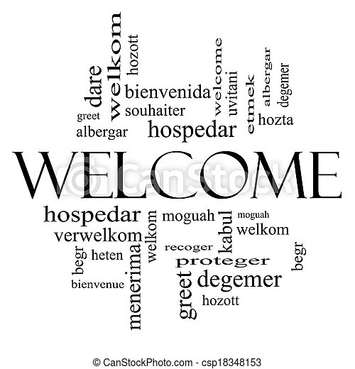 Welcome foreign language word cloud in black and white welcome word welcome foreign language word cloud in black and white csp18348153 m4hsunfo