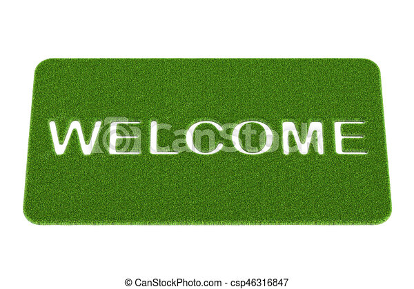 Welcome grass doormat. 3D rendering - csp46316847  sc 1 st  Can Stock Photo & Welcome grass doormat. 3d rendering.
