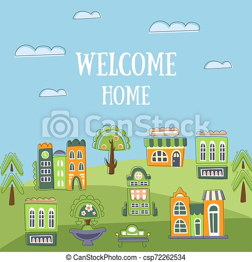 Welcome Home Banner Template Summer Landscape With Cute Hand Drawn Houses Invitation Card Poster Or Flyer Vector Illustration