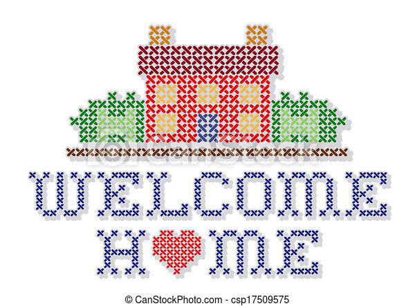 welcome home embroidery retro cross stitch needlework vectors rh canstockphoto com welcome home dog clipart welcome home banner clip art