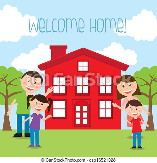 welcome home over landscape background vector illustration rh canstockphoto com welcome home animated clipart welcome home clipart images
