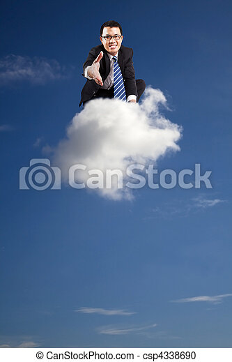 welcome join cloud business .businessman welcoming handshake on the cloud - csp4338690